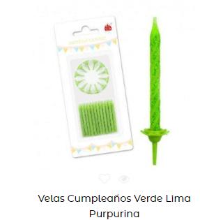 Velas de cumpleaños tradicionales verdes con purpurina