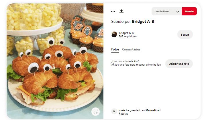 decorar mesa de cumpleanos comida cangrejos crossaint