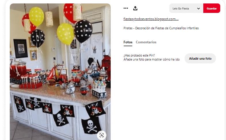 decorar mesa de cumpleanos comida piratas