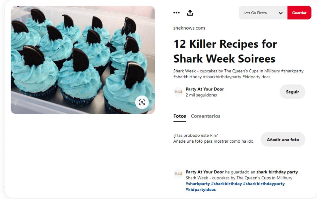Recetas cupcakes faciles para niños tiburones