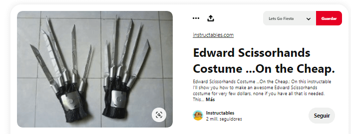 Como hacer disfraz eduardo manostijeras manos