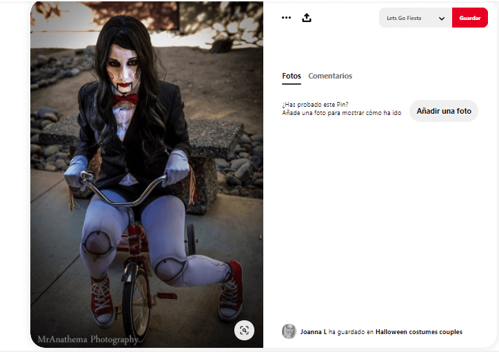 Disfraz maquillaje saw bicicleta mujer