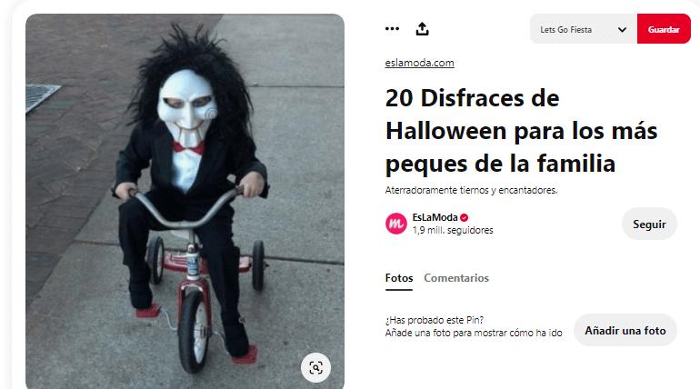 Disfraz maquillaje saw bicicleta