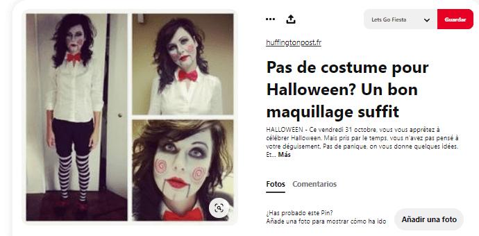 Disfraz maquillaje saw mujer Halloween