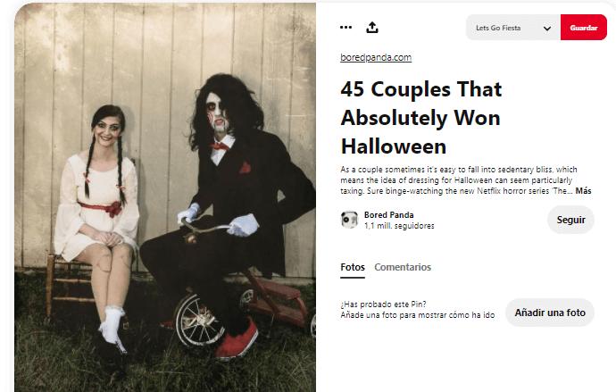 Disfraz maquillaje saw pareja Halloween