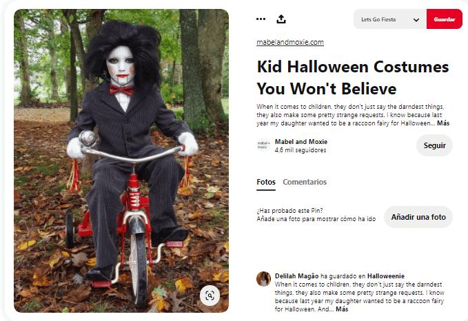 Disfraz maquillaje saw triciclo Halloween