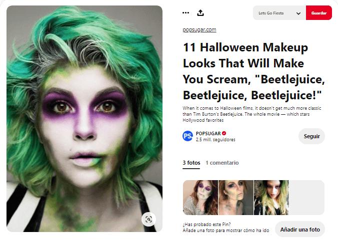 Maquillaje Beetlejuice cara