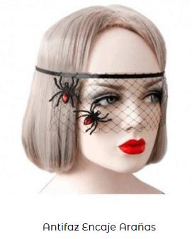 Complementos disfraz vampiresa antifaz velo arañas
