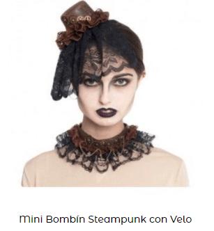 Complementos disfraz vampiresa tocado bombin velo