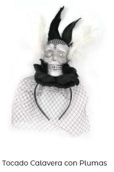 Complementos disfraz vampiresa tocado diadema calavera