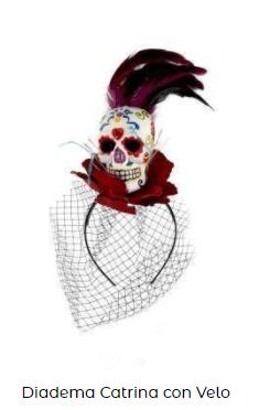 Complementos disfraz vampiresa tocado diadema catrina