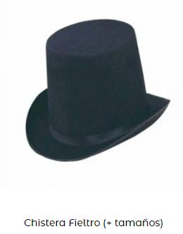 Complementos disfraz vampiro chistera sombrero