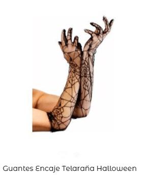 Complementos disfraz vampiro guantes telaraña