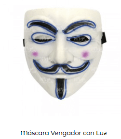 Mascara Halloween V Vendetta con luz