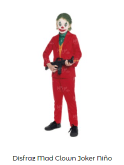 Mascarillas con dibujos Halloween Joker disfraz completo niño
