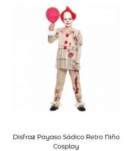 Mascarillas con dibujos Halloween payaso terrorífico niño disfraz