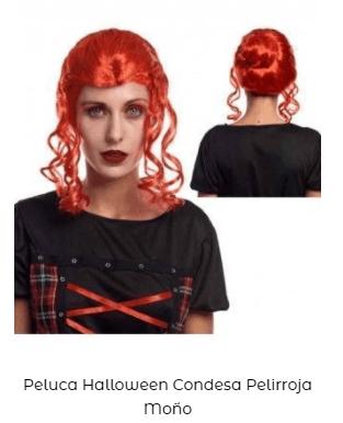 Peluca disfraz vampiresa condesa moño