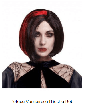 Peluca disfraz vampiresa mechas corta