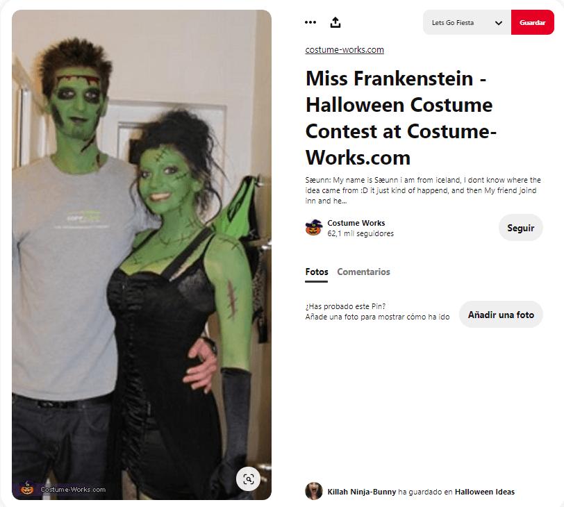 Disfraces Frankenstein para dultos pareja