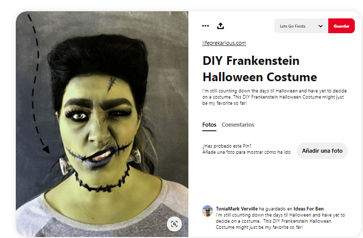 disfraz novia de Frankenstein maquillaje cara