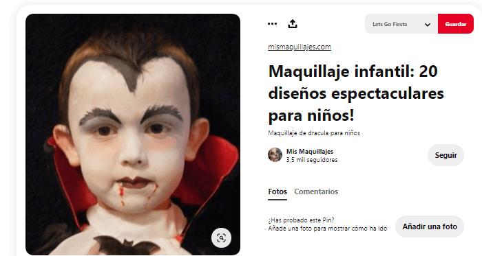 maquillaje vampiro Halloween disfraz