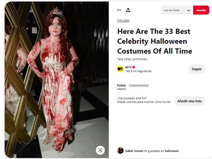 Disfraz Carrie Stephen King sangre