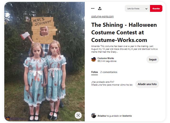 Disfraz El Resplandor Stephen King gemelas sangre johnny