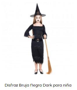 disfraces de bruja niña clásica de negro
