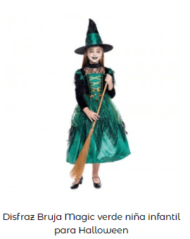 disfraces de bruja niña original verde.