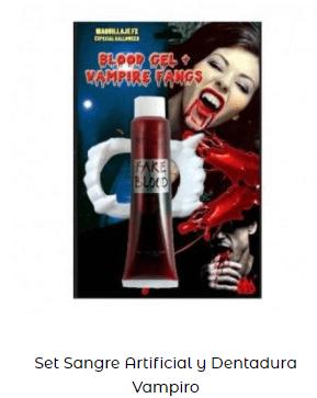disfraz entrevista con el vampiro colmillos y sangre artificial