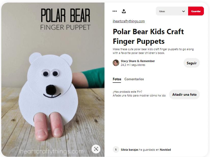 títeres con dedos navidad oso polar