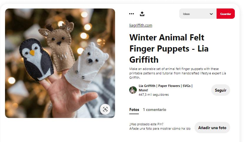 titeres de dedos navidad animales invierno