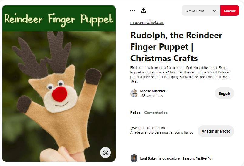 titeres de dedos navidad rudolf