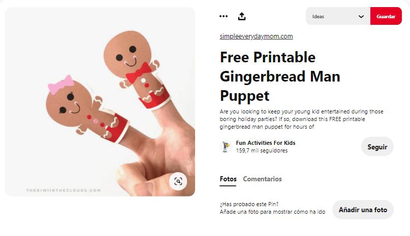 títeres con dedos navidad papel galletas jengibre