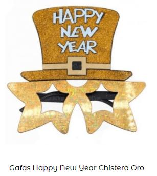 gafas nochevieja feliz año dorado