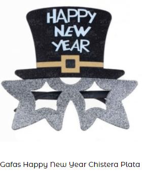 gafas nochevieja feliz año plata