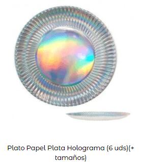 decoración mesa navidad platos plata redondo