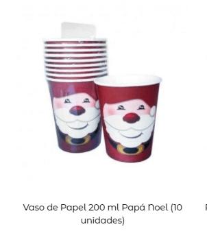decoración mesa navidad vasos papá noel
