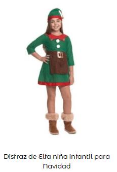 disfraz elfo ayudante papá noel niña