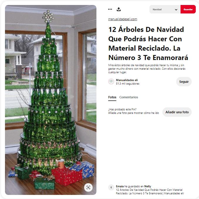 ideas como hacer arbol navidad materiales reciclados botellas cristal