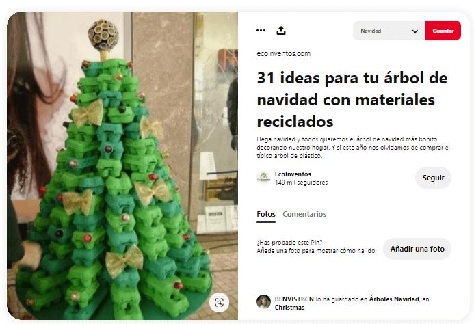 ideas como hacer arbol navidad materiales reciclados hueveras