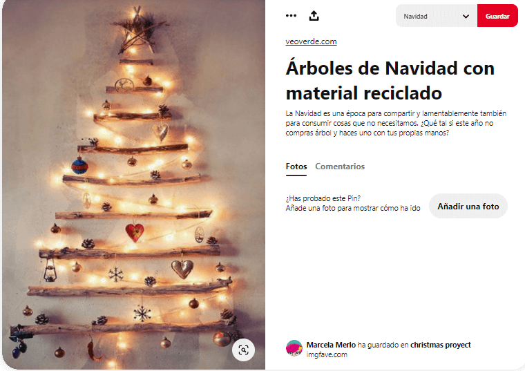 ideas como hacer arbol navidad materiales reciclados madera