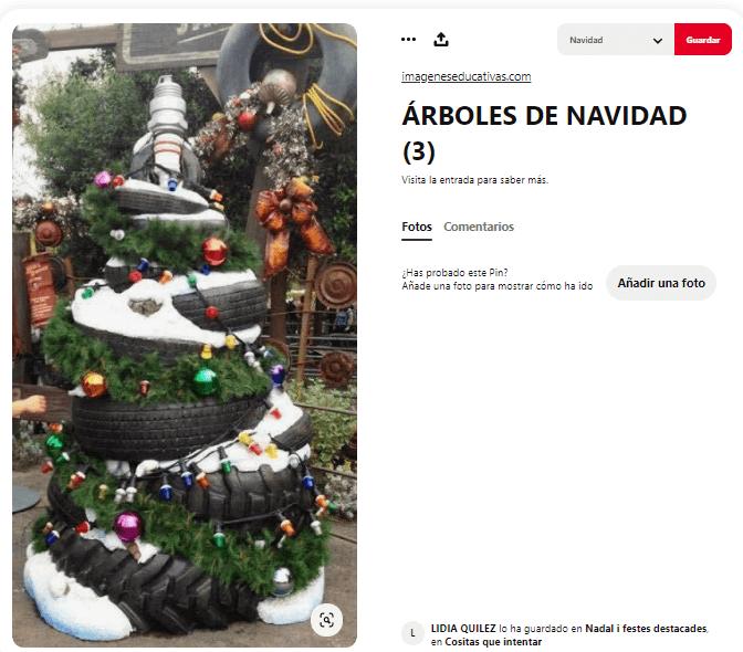 ideas como hacer arbol navidad materiales reciclados neumáticos