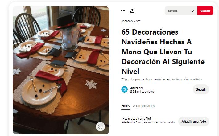 ideas decoración mesa Navidad Nochebuena