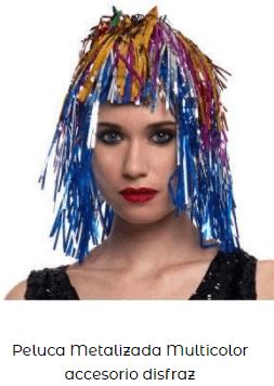 peluca nochevieja feliz año multicolor