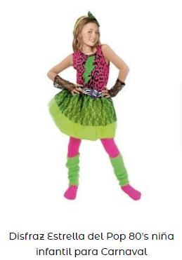 disfraz creativo para niña ochentera