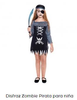 disfraz zombi niña pirata