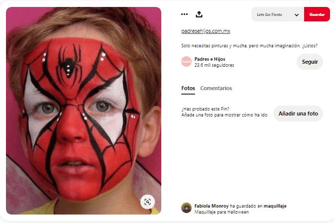 maquillaje fantasía niño spiderman