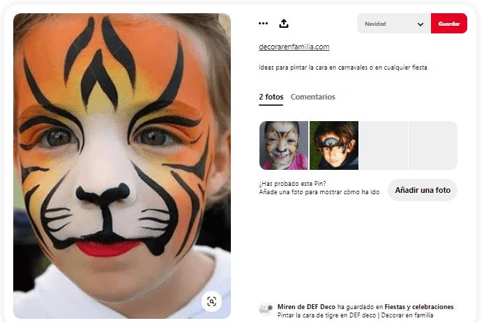 maquillaje fantasía niño tigre