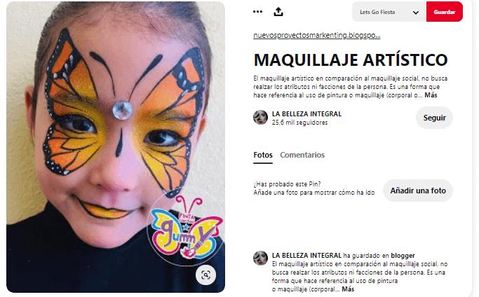 maquillaje mariposa fantasía